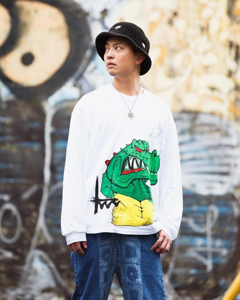 《2色》アングリーワニロングオーバーサイズTシャツの画像2